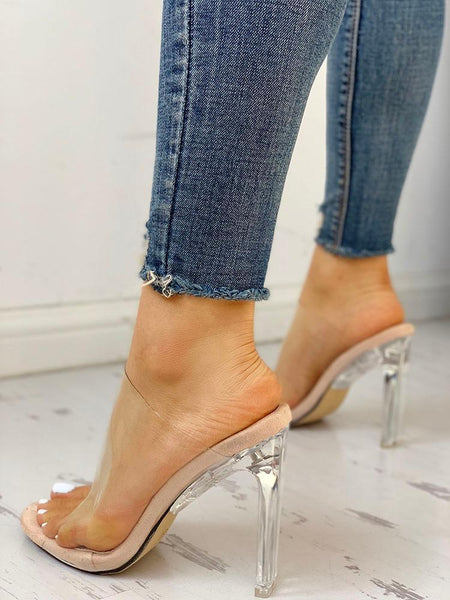Transparent Strap Peep Toe Sandals - ezcute