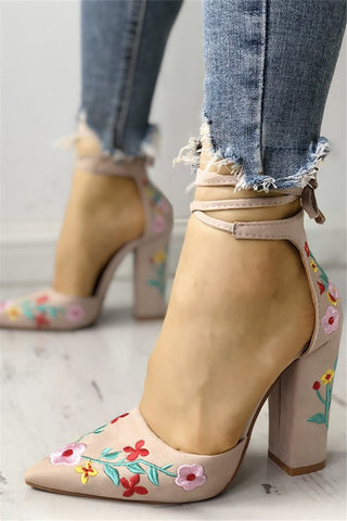 Floral Embroidered Pointed Toe Chunky Heeled Sandals - ezcute