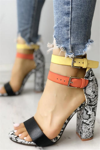 Contrast Color Snakeskin Buckled Sandals - ezcute
