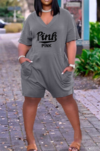 Plus Size S-3XL Letters Printed Casual Pocketed Romper