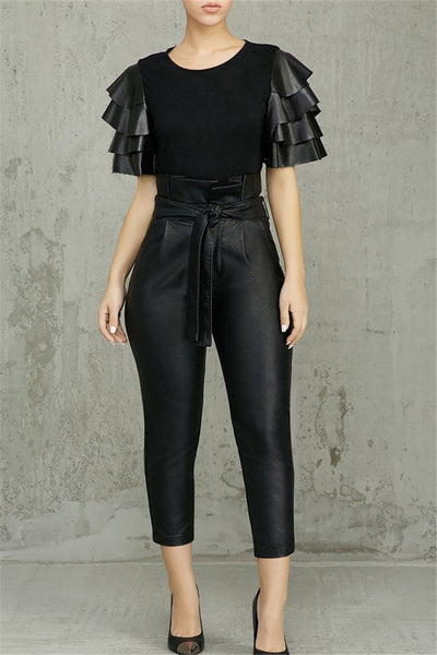 Belted High Waist PU Pants - ezcute