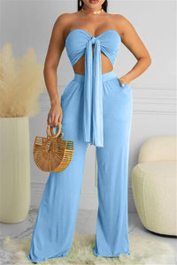 Bandage Breast Wrap Top with Ruched Pants Sets