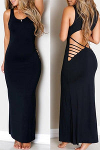 Cut Out Back Long Bodycon Dress - ezcute