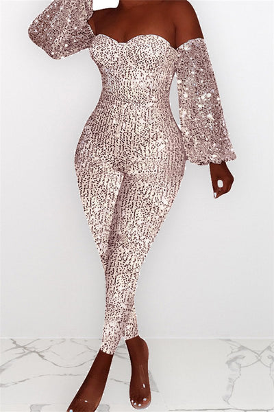 Plus Size Sequins Splicing Jumpsuit