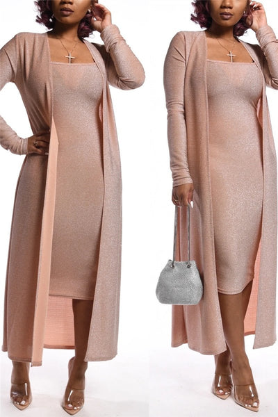 Gold Wire Cami Dress& Coat Sets - ezcute