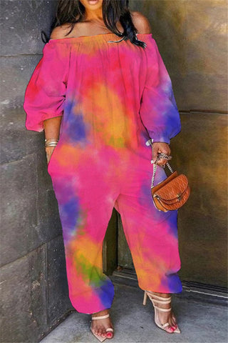 Plus Size S-4XL Tie Dye Off Shoulder Casual Jumpsuit