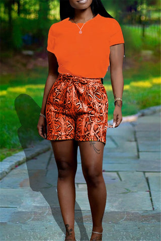Solid Color Top with Printed Shorts Sets