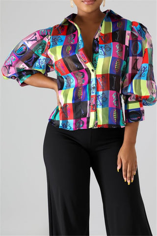 Casual Bubble Sleeve Printed Shirt - ezcute