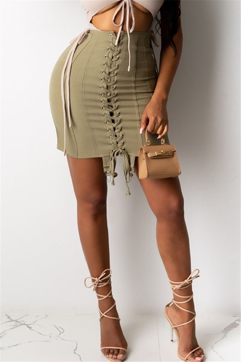 Bandage Drawstring Short Skirt