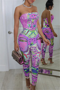 Strapless Cartoon Avatar Print Jumpsuit