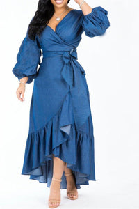 Lantern Sleeve Flounce Dress With Belt