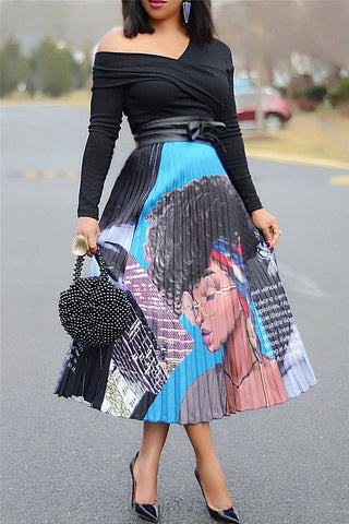 Printed Pleated Fashion Skirt - ezcute