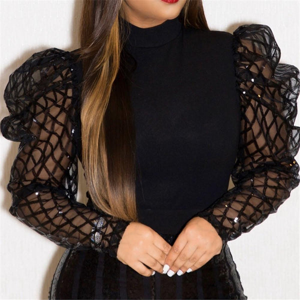 Hollow Out Net Yarn Sleeve Top - ezcute