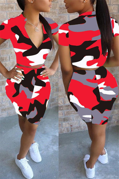 Camo Printed Zipper Two PC Sets
