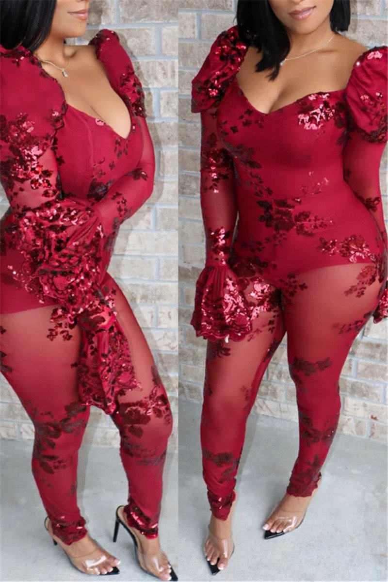 Net Yarn Sequin Splicing Jumpsuit - ezcute