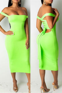 Solid Color Back Bandage Dress