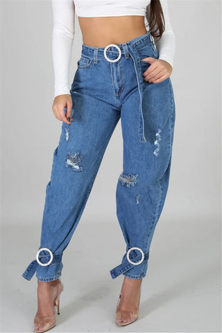 Bandage Legs Denim Pants With Belt - ezcute