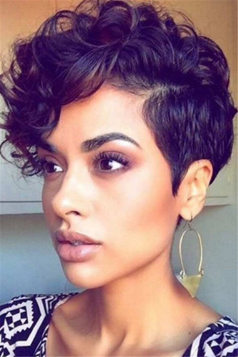 Short Curly Black Hair Wigs - ezcute