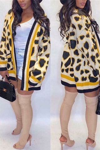 Leopard Printed Knitted Cardigan Coat - ezcute