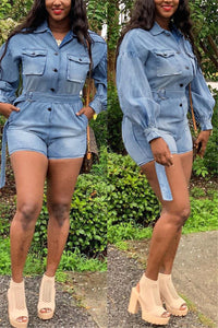 Plus Size Lantern Sleeve Denim Romper - ezcute