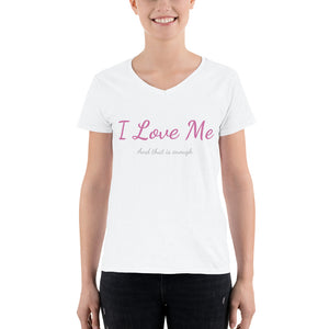I Love Me Women's Casual V-Neck Shirt