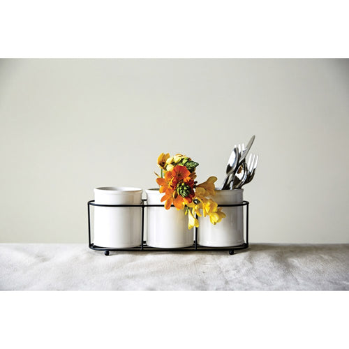 Metal and Ceramic Crock Caddy