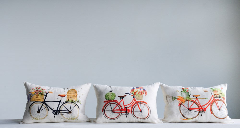 Cotton Bicycle Pillow, 3 Styles