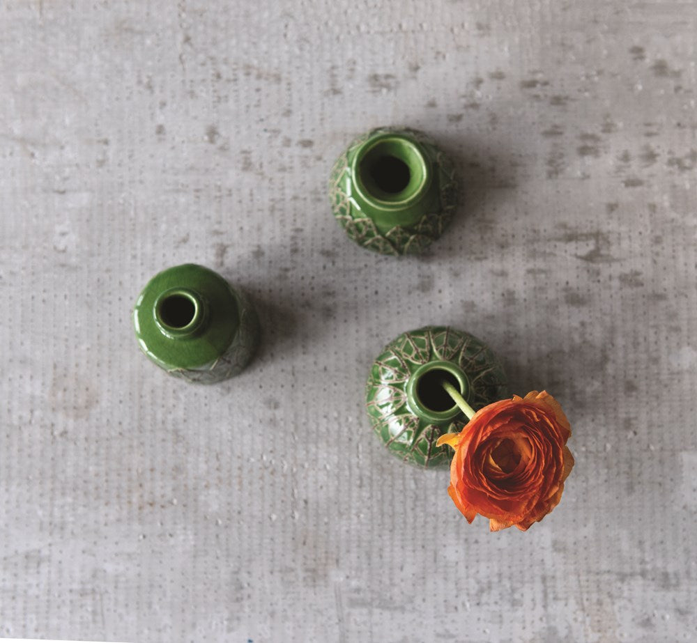 Green Embossed Stoneware Vases, Set of 3