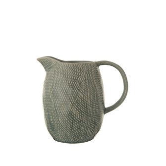 Embossed Stoneware Pitcher, Blue