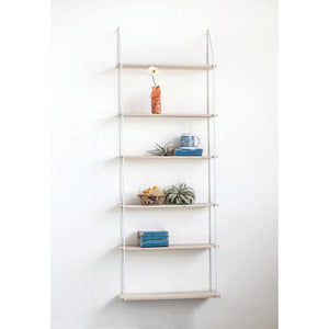 Metal & Wood Wall Shelf w/ 6 Shelves, White