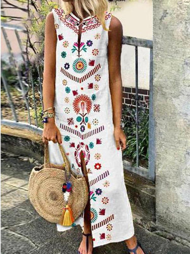 Cotton/Line Casual V-Neck Vintage Style Printed Boho Dress Holiday Dresses Casual Maxi Dresses