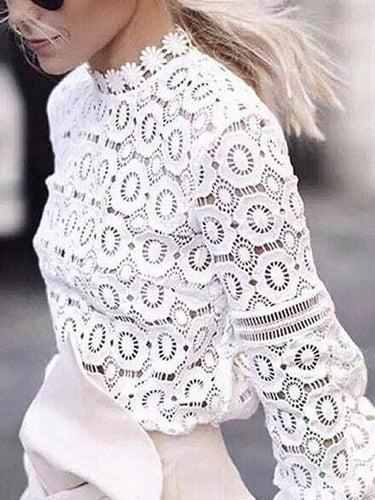 Sexy Cutout Lace Lantern Sleeve Fashion Long Sleeve Blouse