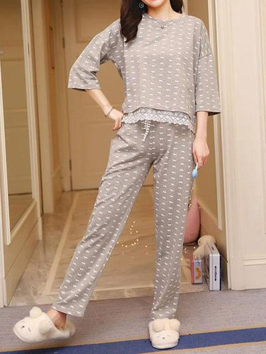 Home service thin lace suit pajamas