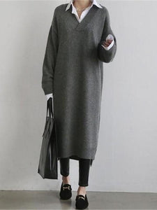 Fashion Simple Loose Long Sleeves Knitted Sweater Shown Thin Maxi Dress