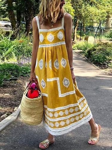 Casual Lace Stitching Sling Vacation Maxi Dress