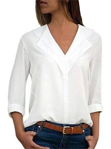 Simple Pure Color V-Neck Chiffon Shirt