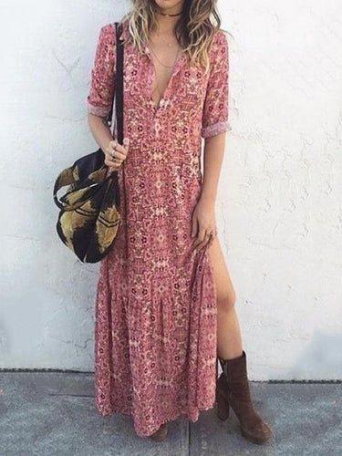 Floral Printed Side Split Vacation Maxi Dress Floral Maxi Dress Summer Vacation Dresses