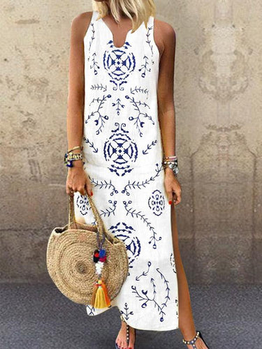 V-Collar Floral Printed Casual Maxi Dress Summer Dresses