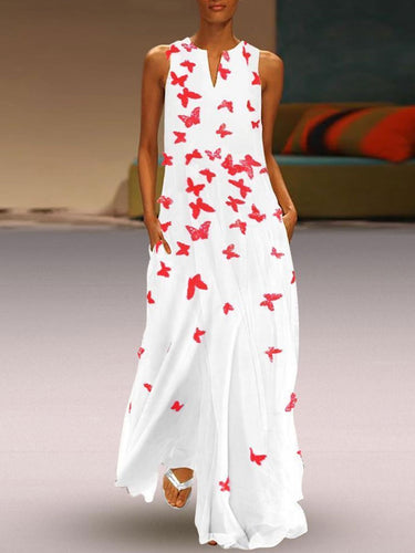 Chinese Butterfly Printed Maxi Shift Dress Printed Dress White Dresses For Women