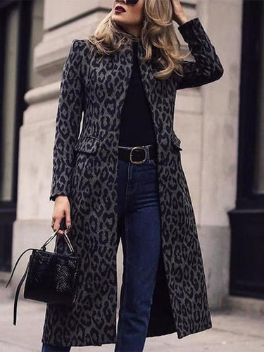 Fashion Leopard Print Long Sleeve Coat