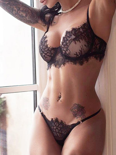 2a79da20ab579 Sexy Lace 3-Point Ultra-Thin Hollow Sexy Lingerie