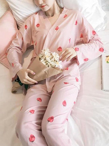 Pajamas milk silk long-sleeved loose home service suit