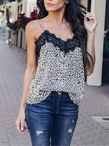 Fashion Leopard Pattern Sexy Sling Vest Lace Blouse