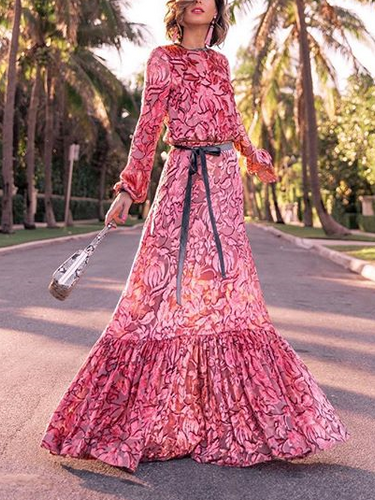 Fashion Round Collar Rose Long Sleeve Maxi Dress