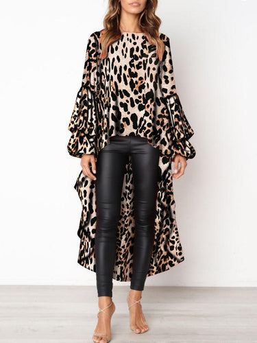 Fashion Leopard Print Asymmetric Hem Lantern Sleeve T-Shirt