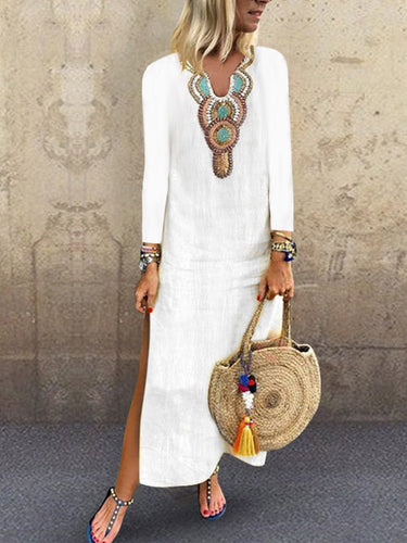 V Neck Long Sleeve Printed Split Casual Dress Split Maxi Dress Long White Dresses