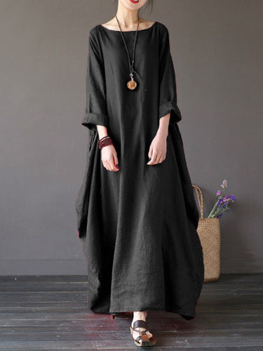 Women's Round Neck Pocket Plain Maxi Dress Long Casual Dresses