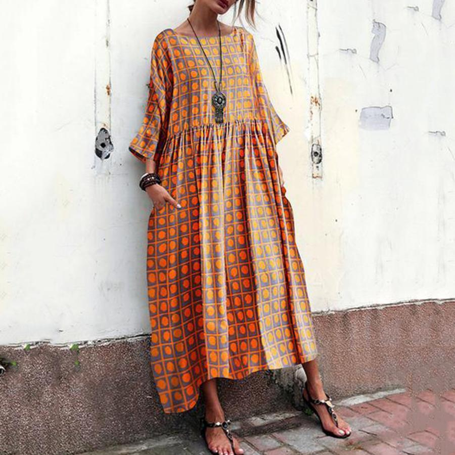 Colabingo: Cotton And Linen Printed Dress With Round Neck And Short