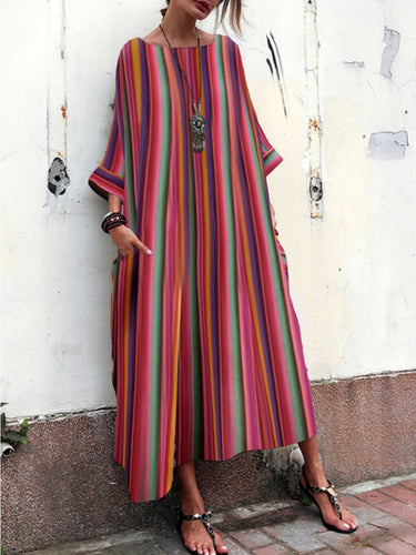 Women's Bohemian Striped  Bell Sleeve Maxi Dresses Red Vacation Dresses