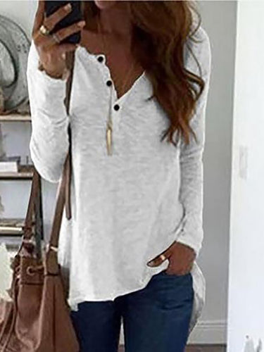 Fashion Long Sleeve Irregularity Hem T-Shirt